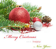 Christmas greetings card. Isolated on white Stock Photos