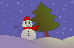 Christmas greetings card. With a snowman Stock Photo