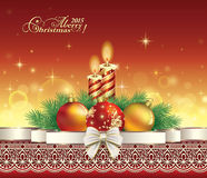 Christmas greetings card with Christmas and New Year. Christmas card with Christmas and New Year in Christmas decorations Stock Photography