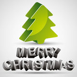 Christmas greetings card with 3d letters and Christmas tree. Stock Photos