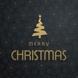 Christmas greetings card with dark background golden typography,. Snowflakes ,christmas tree.. For web design and application interface, also useful for Royalty Free Stock Photos