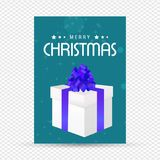 Christmas greetings card with giftbox. For web design and application interface, also useful for infographics. Vector illustration Royalty Free Stock Image