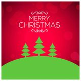 Christmas greetings card with red background green christmas tre. E.. For web design and application interface, also useful for infographics. Vector illustration Stock Photography