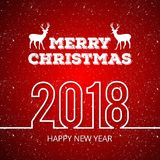 Christmas greetings card with red background snow. For web design and application interface, also useful for infographics. Vector illustration Stock Photos