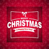 Christmas greetings card with red background white ribbon. For web design and application interface, also useful for infographics. Vector illustration Royalty Free Stock Photo