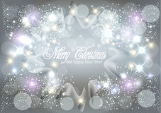 Christmas greetings card. Shiny starry lights image vector background Stock Image