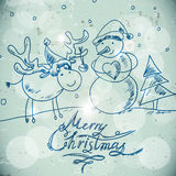 Christmas greetings card with a snowman and moose Stock Images