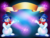 Christmas greetings card with Snowmans Stock Photo