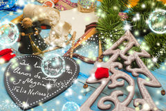 Christmas greetings card, Spanish Language. Christmas greetings card, Christmas ornaments and good wishes message in Spanish Language Stock Images