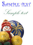 Christmas greetings card - toy with three Balls Royalty Free Stock Photos