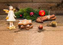 Christmas greetings card on wooden background with the space for your text Stock Photography