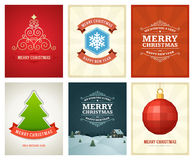 Christmas greetings cards vector backgrounds set. Merry Christmas holidays wish message typography design and decorations. Vector illustration Royalty Free Stock Photo