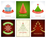 Christmas greetings cards vector backgrounds set. Merry Christmas holidays wish message typography design and decorations. Vector illustration Stock Photos