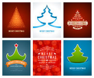 Christmas greetings cards vector backgrounds set. Merry Christmas holidays wish message typography design and decorations. Vector illustration Royalty Free Stock Images