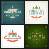 Christmas greetings cards vector backgrounds set. Merry Christmas holidays wish message typography design and decorations. Vector illustration Royalty Free Stock Photography