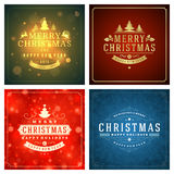 Christmas greetings cards vector backgrounds set. Merry Christmas holidays wish message typography design and decorations. Vector illustration Stock Photography