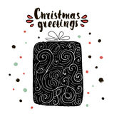 Christmas greetings. Christmas trendy design greeting card. Holiday winter template with handwritten lettering Royalty Free Stock Photos