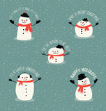 Christmas greetings with cute snowmen. Christmas greetings cute snowmen to use in your designs Royalty Free Stock Photography