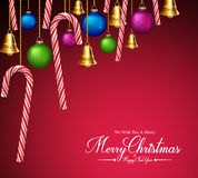 Christmas Greetings with Decorations and Elements Hanging Stock Photography