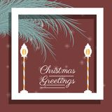 Christmas greetings design. With christmas lights icon over white background vector illustration Stock Images