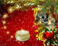 Christmas greetings, festive background for the images. 3D rendering. Christmas cheer: Christmas decorations, candles and lights. 3D rendering Stock Images