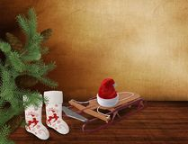 Christmas greetings, festive background for the images. 3D rendering. Christmas: Christmas tree, boots, and hat of Santa Claus on a sled. 3D rendering Stock Photo