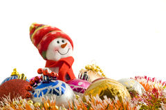 Christmas greetings - Funny white snowman Royalty Free Stock Image