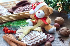 Christmas greetings with gingerbread and biscuits Stock Photography