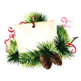 Christmas greetings. Greeting card with pine cone and red ribbon Stock Photography