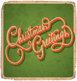 CHRISTMAS GREETINGS vintage card (vector) Royalty Free Stock Photos
