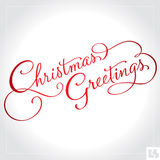 CHRISTMAS GREETINGS hand lettering (vector). CHRISTMAS GREETINGS hand lettering -- handmade calligraphy Royalty Free Stock Images