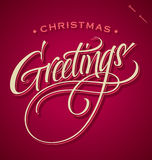 CHRISTMAS GREETINGS hand lettering (vector) Stock Photo