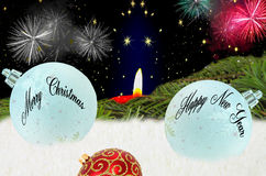 Christmas Greetings, Happy New Year card Stock Images