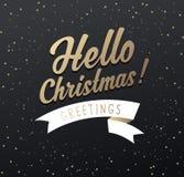 Christmas greetings with Hello Christmas text Stock Images