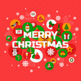 Christmas greetings with holiday icons in circles Royalty Free Stock Images