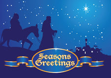 Christmas greetings mary and joseph. Mary and joseph on way to bethlehem Stock Photos