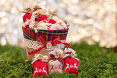 Christmas greetings. Ornament symbol present Stock Image