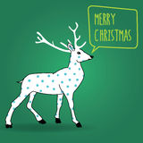 Christmas greetings postcard. Christmas postcard vintage white reindeer with blue dots wishing a merry christmas on a green square background Stock Illustration
