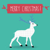Christmas greetings postcard. Christmas postcard vintage white reindeer with violet antler and two pink happy birds hanging a ribbon to wish a merry christmas on vector illustration