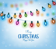 Christmas Greetings in Realistic 3D Colorful Christmas Lights Stock Image