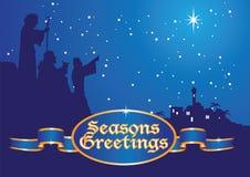 Christmas greetings shepherds. Shepherds following star to bethlehem Stock Images
