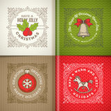 Christmas greetings and symbols. Decorative flourishes line art frame with christmas greetings and symbols Stock Images