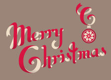 Christmas greetings text. MERRY CHRISTMAS hand lettering -- handmade calligraphy with decorative crystal balls vector illustration