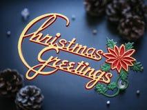 Christmas Greetings text Xmas Holiday Card Stock Images