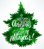Christmas greetings and tree Royalty Free Stock Images