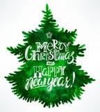 Christmas greetings and tree Stock Photo