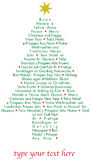 Christmas greetings tree in different languages Royalty Free Stock Photography