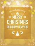 Christmas Greetings Typography on Yellow Background Stock Photos