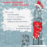 Christmas greetings from the UK. Design of the Christmas greeting card with Big Ben in a red scarf and hat and with a lyrics of London Snow poem by Robert Stock Photos