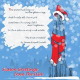 Christmas greetings from the USA. Design of the Christmas greeting card with the Empire State Building in a red scarf and hat and with a citation from The first Royalty Free Stock Photos